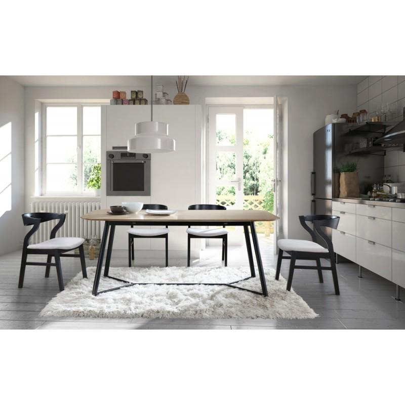 Mesa de comedor diseño ADAMO madera (180X90X75cm) (claro, roble negro)
