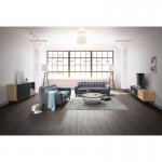 Buffet enfilade design 2 portes 2 niches 1 tiroir ADAMO en bois 150 cm (chêne clair)