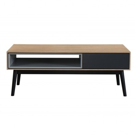 Design coffee table 1 niche ADAMO 1 drawer in wood (light oak)