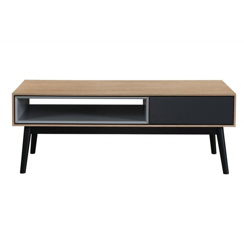 Diseño de mesa de centro 1 cajón de nicho ADAMO 1 en madera (roble claro)