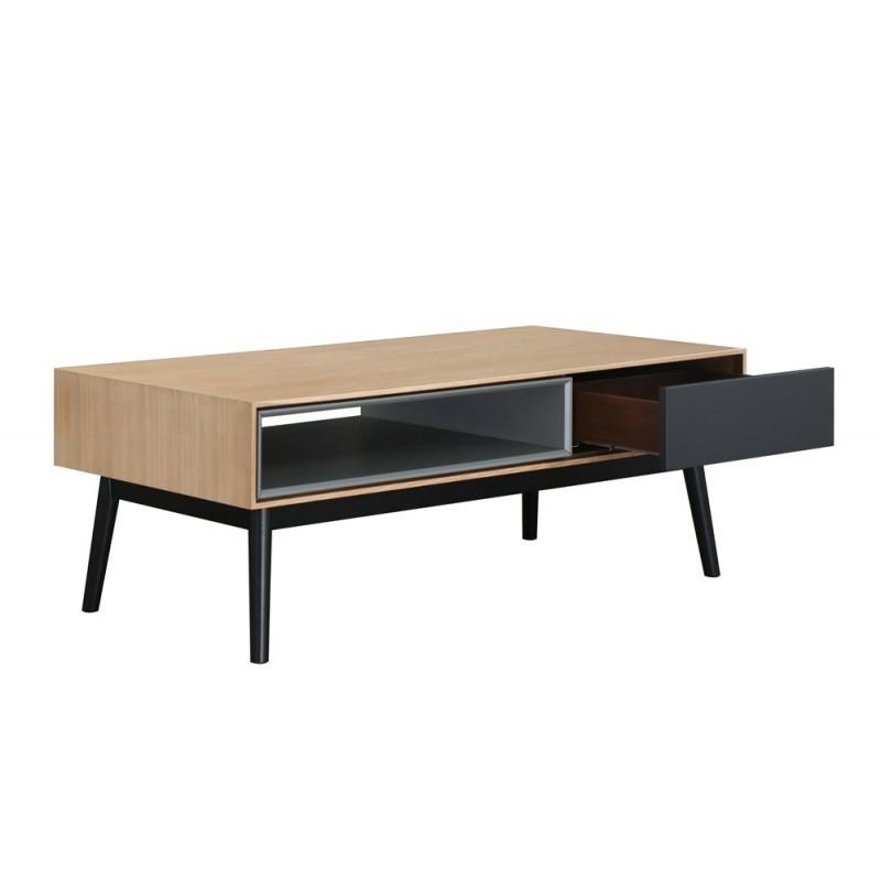 Design Couchtisch 1 Nische ADAMO 1 Schublade aus Holz (Eiche hell) - image 36365