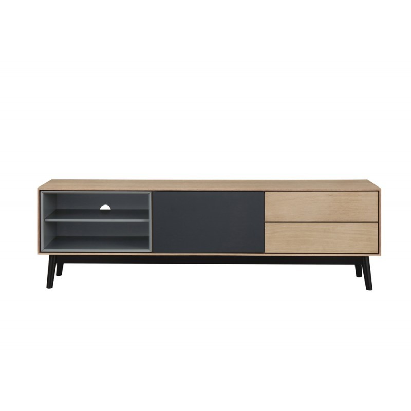 Furniture design low TV 2 niches 1 door 2 drawers ADAMO wooden (light oak)