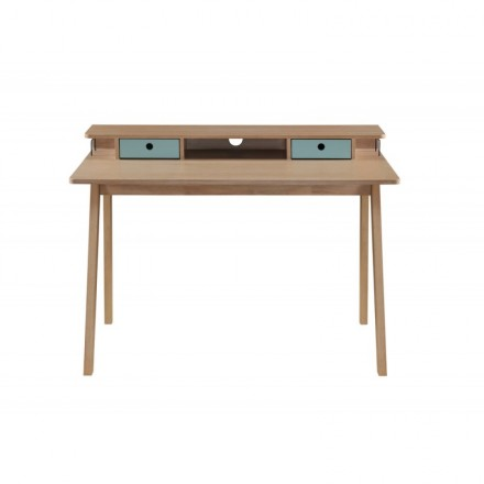 Scandinavian design office FLAVIE wooden (oak clear, blue)