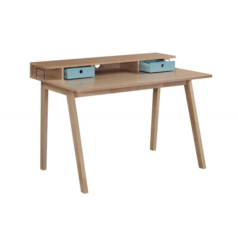 Scandinavian design office FLAVIE wooden (oak clear, blue) - image 36379