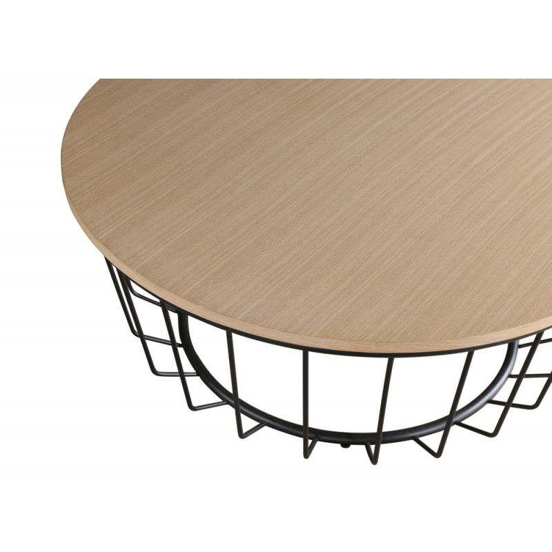 table basse ronde design michou en bois et m tal ch ne clair noir. Black Bedroom Furniture Sets. Home Design Ideas