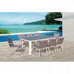 Tavolo da pranzo e 8 sedie TASHA in textilene e alluminio (grigio chiaro)