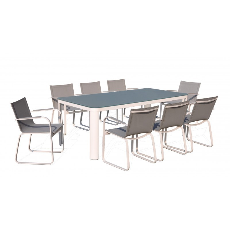 Dining table and 8 chairs TASHA in textilene and aluminium (light gray) - image 36428