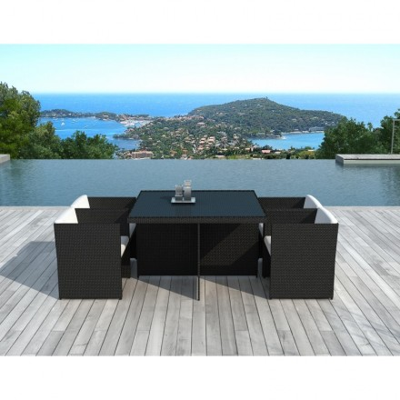 Dining table and 4 chairs built-in Garden KRIBOU in woven resin (black, white/ecru cushions)
