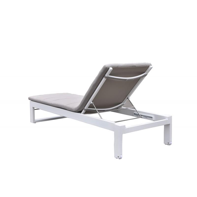 Bain de soleil transat 4 positions  STAS en textilène et aluminium (blanc, taupe) - image 36436