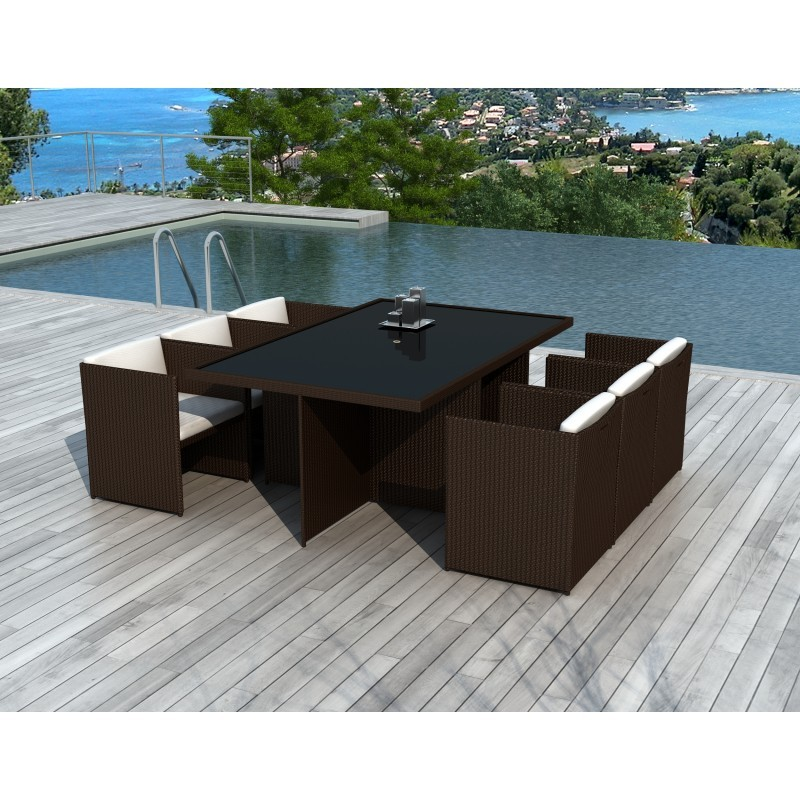 Dining table and 6 chairs built-in Garden KRIBOU in resin braided (Brown, white/ecru cushions) - image 36446