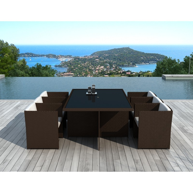 Dining table and 6 chairs built-in Garden KRIBOU in resin braided (Brown, white/ecru cushions) - image 36448