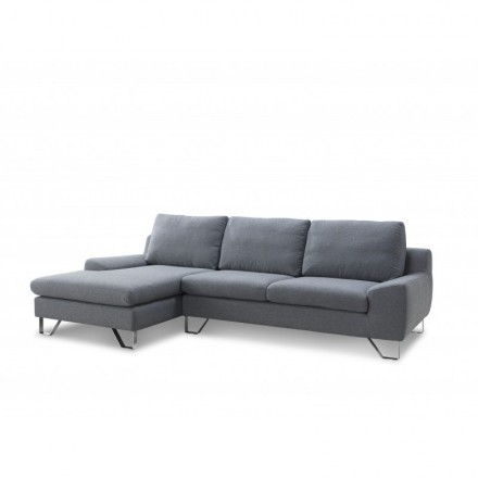 Corner sofa design left 3 places with VLADIMIR chaise in fabric (grey)