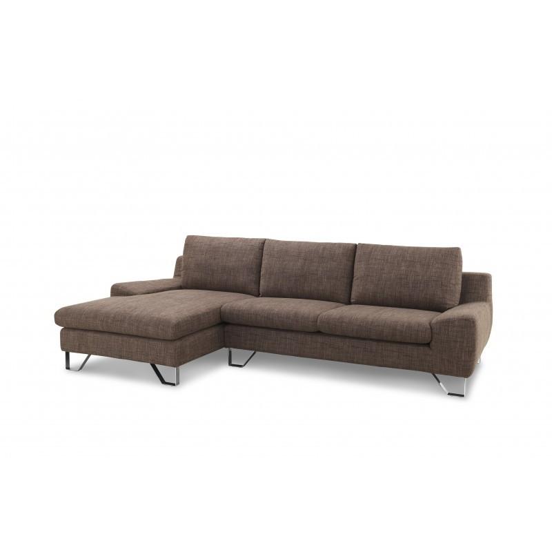 Canapé d'angle côté Gauche design 3 places avec méridienne VLADIMIR en tissu (marron) - image 36457