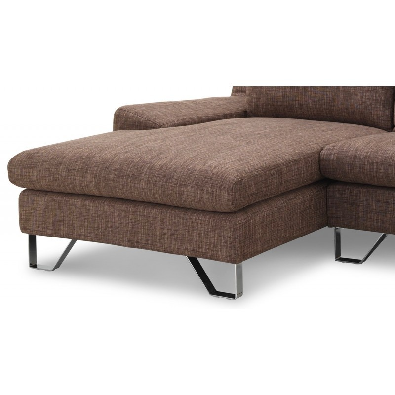 Canapé d'angle côté Gauche design 3 places avec méridienne VLADIMIR en tissu (marron) - image 36461