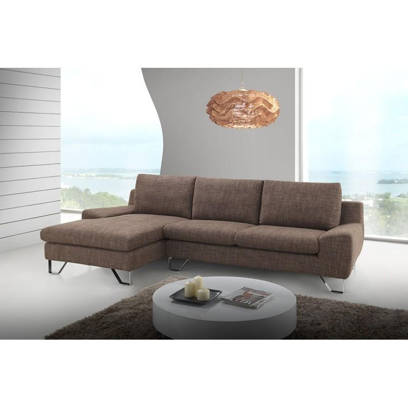 Canapé d'angle côté Gauche design 3 places avec méridienne VLADIMIR en tissu (marron) - image 36463
