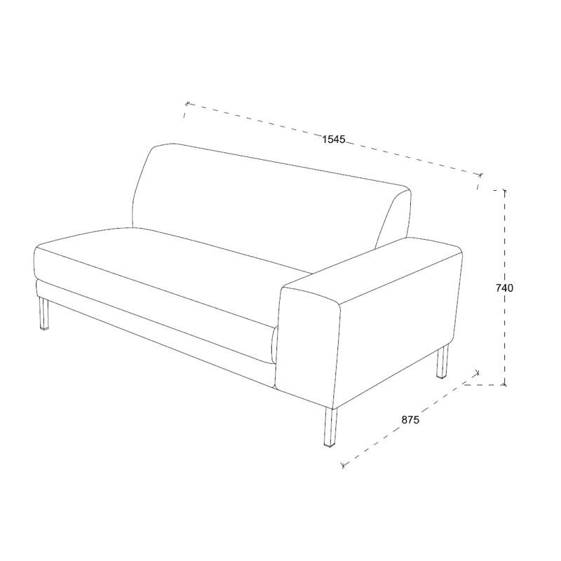 Diseño de sofá de la esquina izquierda 3 plazas con chaise ROSANA en tela (gris) - image 36466