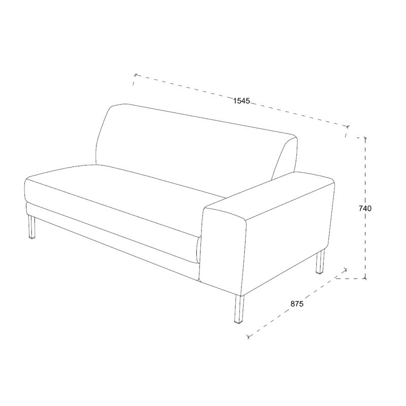 Ecke Sofa Design links 3 Plätze mit ROSANA Chaise in Stoff (grau) - image 36466