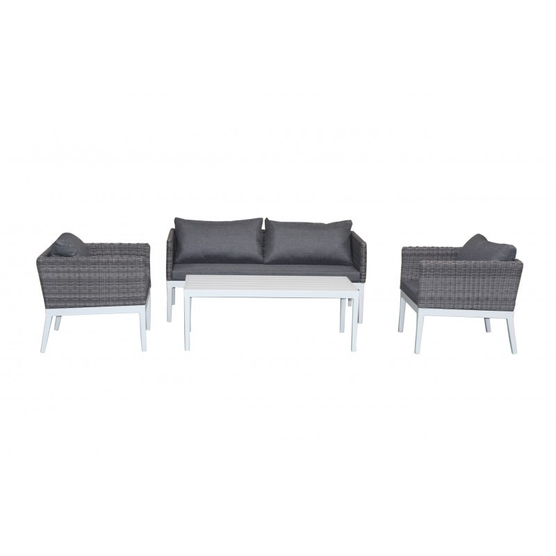 Garden furniture 4 seater PAMELA woven resin (white, grey cushions)
