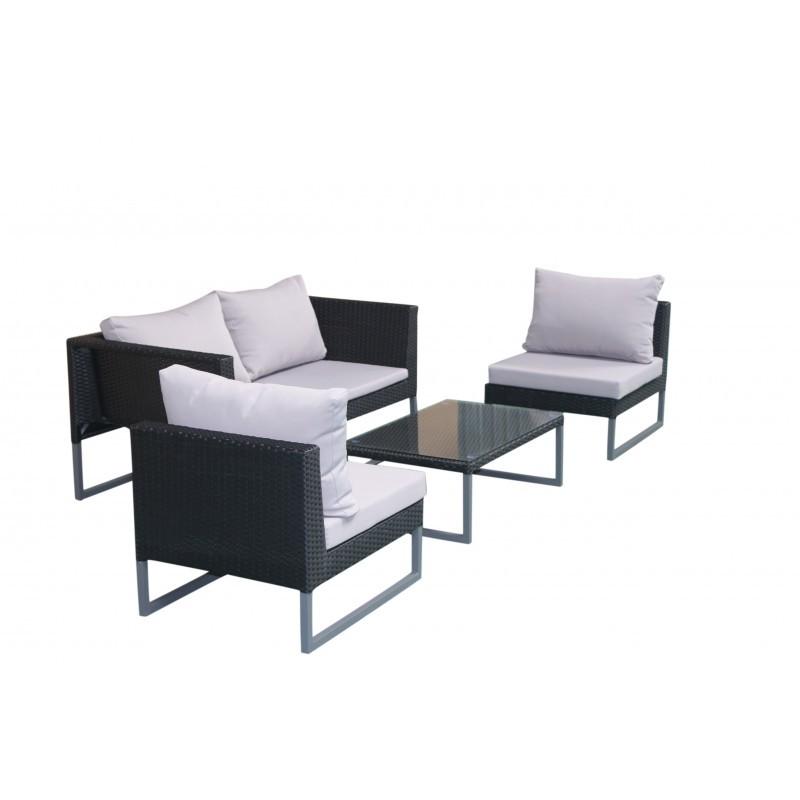 Garden furniture 4 seater LAZAR woven resin (black, grey cushions) - image 36537