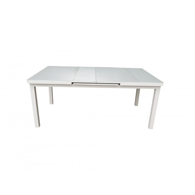 table manger extensible 10 12 personnes mitron en aluminium blanc. Black Bedroom Furniture Sets. Home Design Ideas