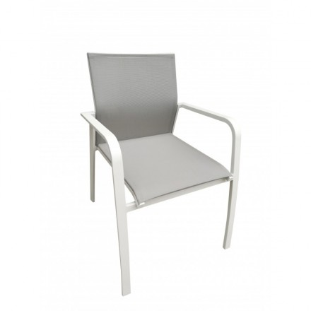 MITRON garden in aluminum and textilene Chair (white, taupe)