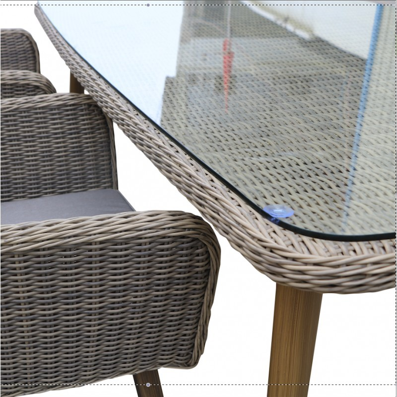 Garden table NASTASYA in braided resin and aluminum (natural, Brown) - image 36546