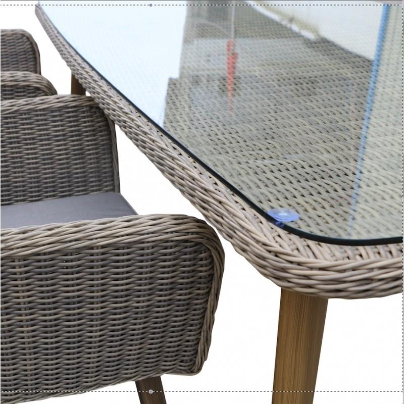 Gartentisch NASTASJA aus geflochtenen Kunstharz und Aluminium (Natur, braun) - image 36546