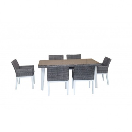Dining table and 6 chairs garden built-in LUKA braided resin and ...
