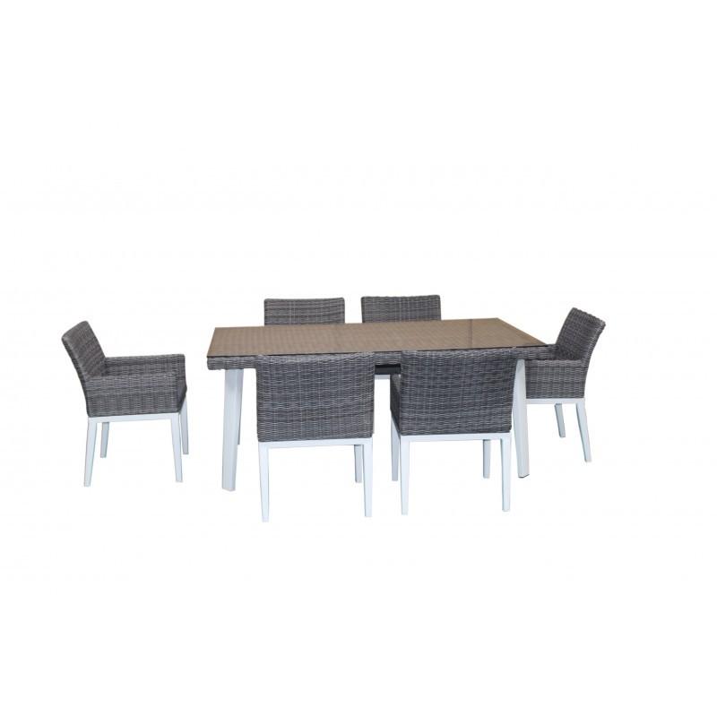 Table à manger et 6 fauteuils de jardin encastrable LUKA en résine tressée et aluminium (blanc, gris)