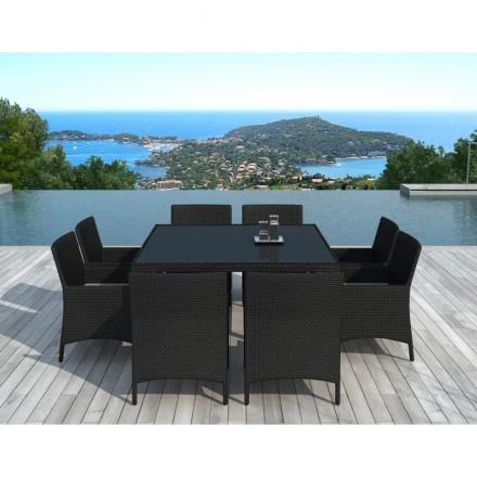 Mesa de comedor y 8 sillas de jardín PALMAS en resina tejida (negros, blanco crudo cojines)