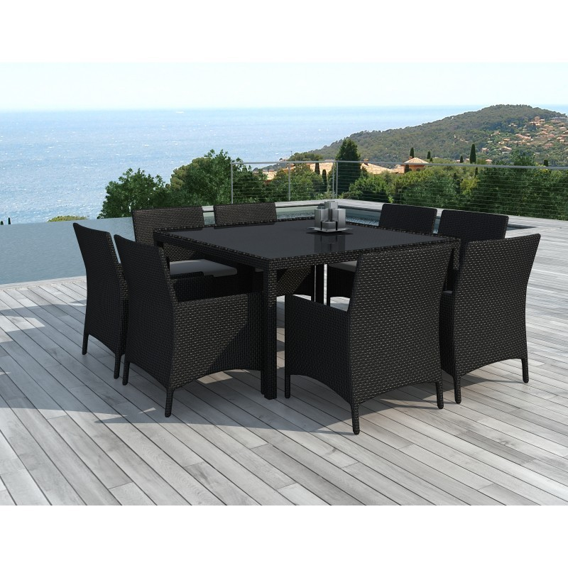 Dining Table And 8 Chairs Garden Palmas In Woven Resin Black White Ecru Cushions