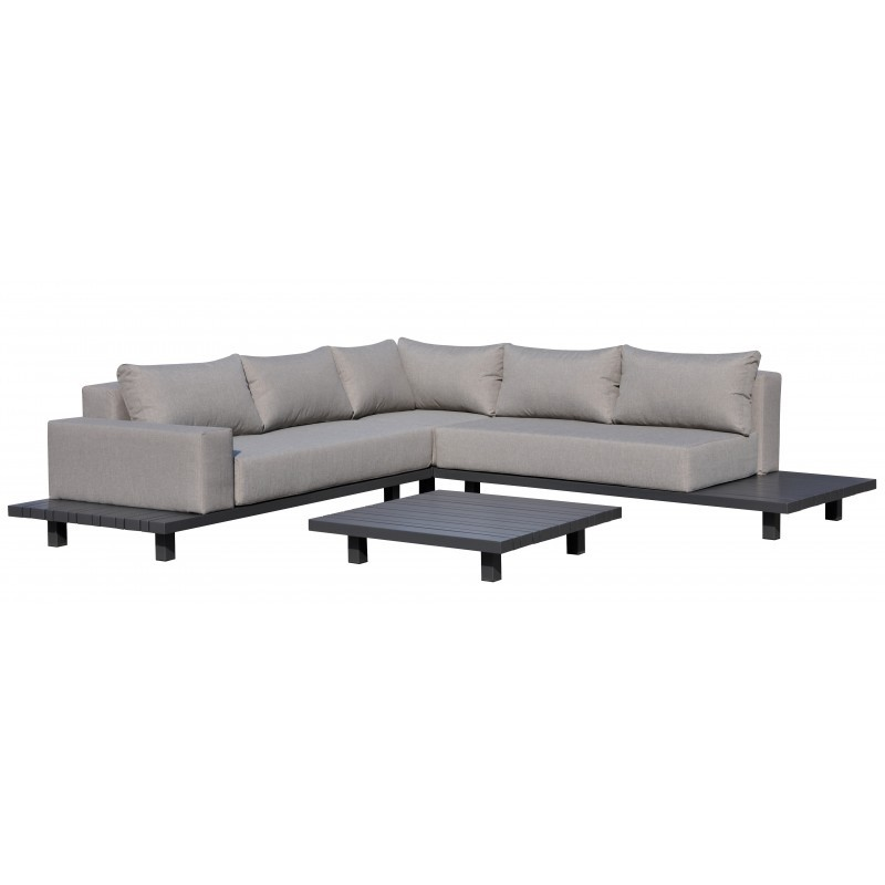 Gartenmöbel 6 Sitzer LUBIN Aluminium (Anthrazit, Kissen Maulwurf)