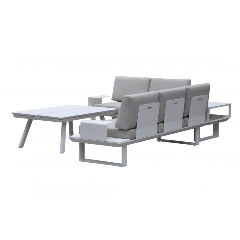 Garden furniture 6 seater BARNABAS aluminum (white, taupe) - Garden Lounge