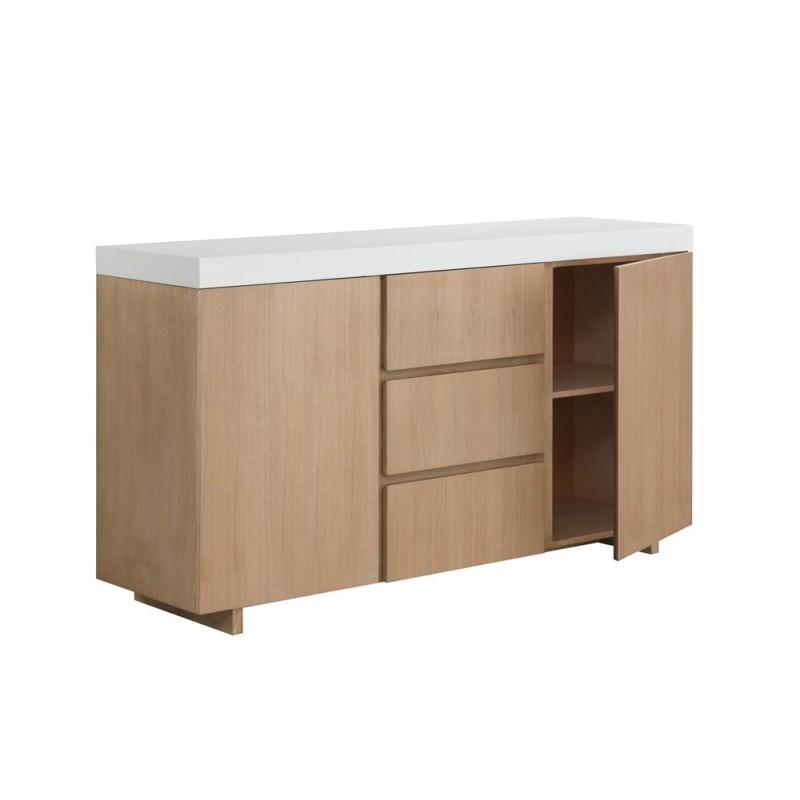 Buffet la fila 2 puertas, 3 cajones diseño y EMMA escandinavo madera (roble claro, de blanco) - image 36580