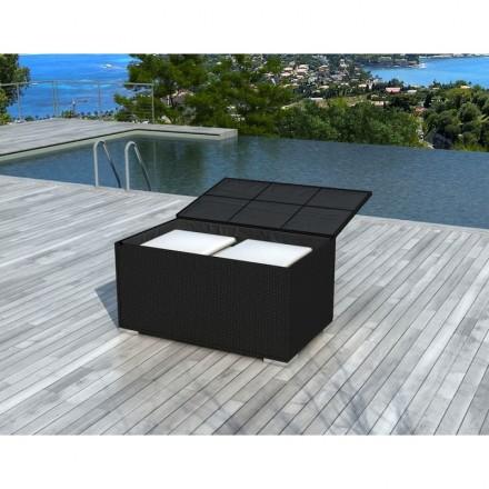 Coffre de rangement BOX en résine tressée (noir)