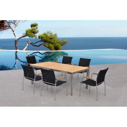Dining and 6 VOLYA braided resin lawn chairs round table and teak ...