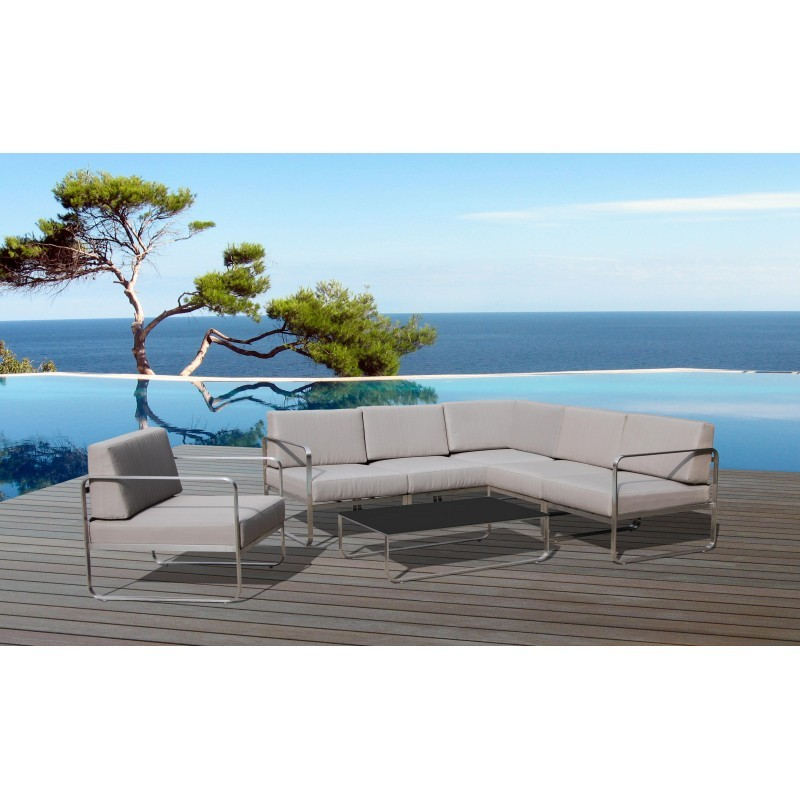 Garten-Lounge Ecke 5 Orte VARLAM Stoff und Metall (Taupe) - image 36616