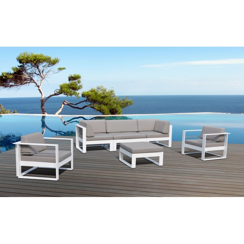salon de jardin 5 places svela en tissu et aluminium taupe. Black Bedroom Furniture Sets. Home Design Ideas