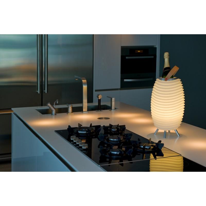 Lampe LED seau à champagne haut-parleur enceinte bluetooth KOODUU SYNERGIE 50 (blanc) - image 36642