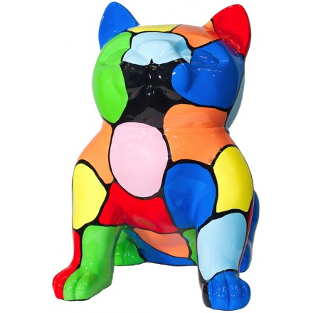 Statue design decorative sculpture cat sitting in resin (multicolor)