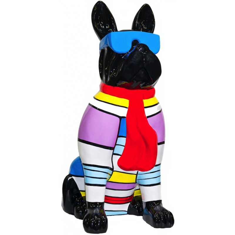 Statuette design decorative sculpture dog sitting H100 in resin (multicolor) - image 36662