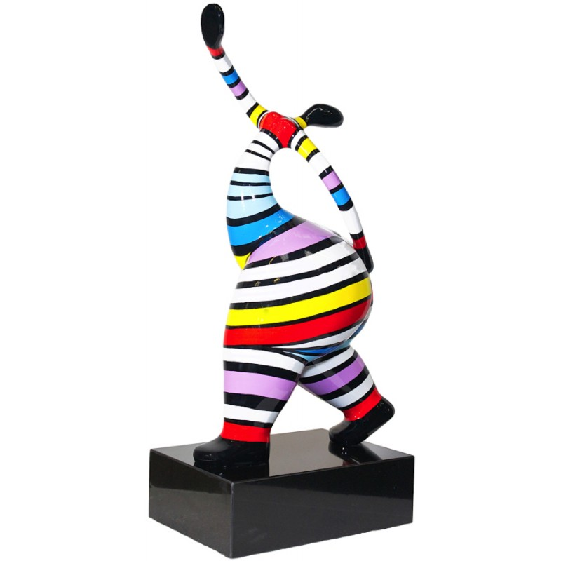 Statuette design decorative sculpture woman standing in resin H61 (multicolor)
