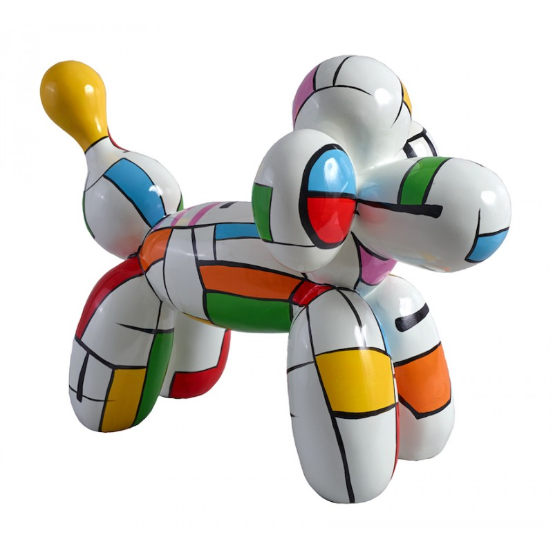 Cane statua scultura decorativa di Harlequin palloncino design in resina H35 (multicolor)