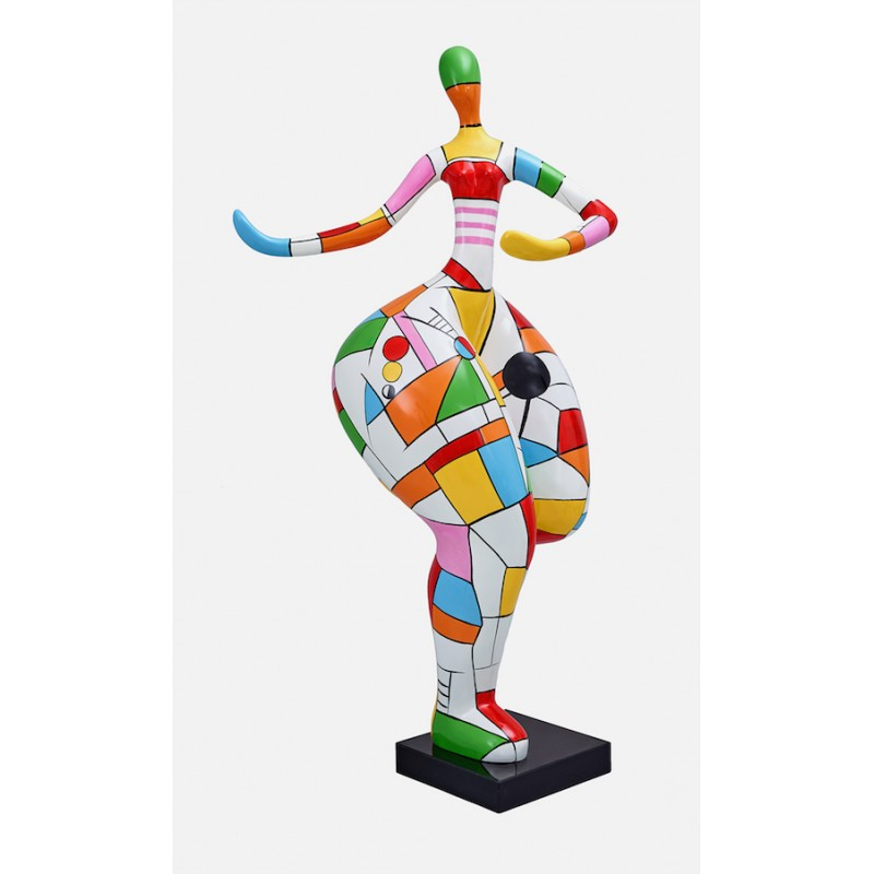 Mujer estatua Arlequín diseño escultura decorativa en resina H140 (multicolor)