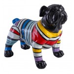 Statue sculpture decorative design dog scratches in resin (multicolor)