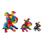 set-de-3-sculptures-design-chien-en-resine-multicolore