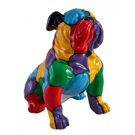 Statue sculpture décorative design CHIEN BULDOG en résine (multicolore)