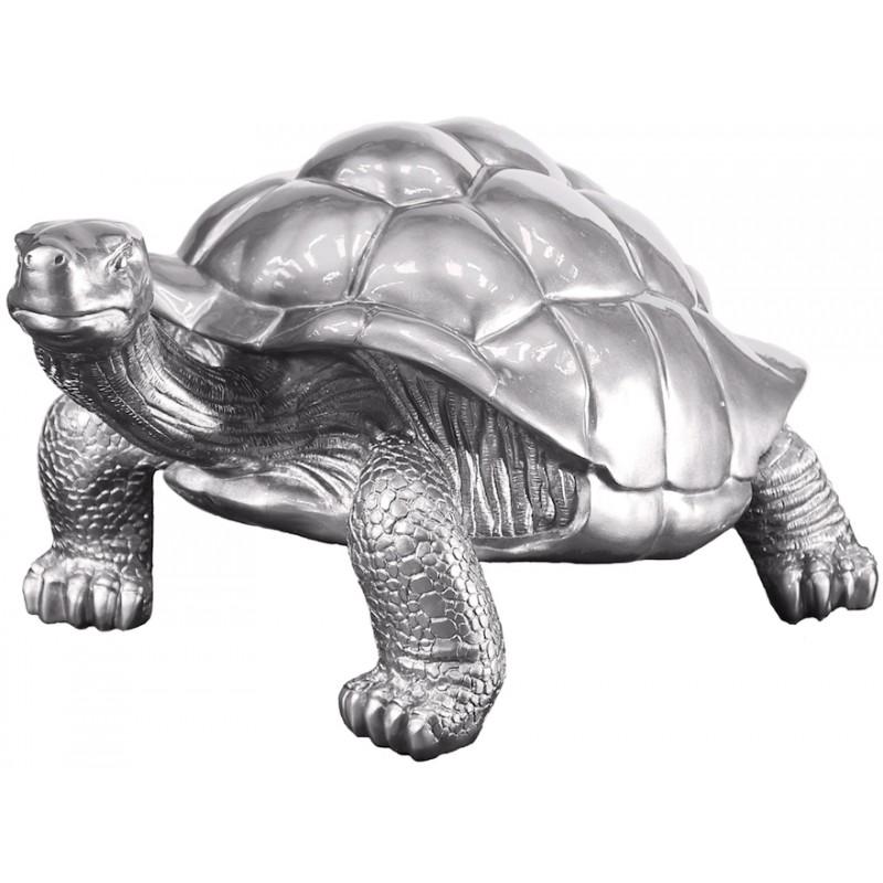Estatua de tortuga diseño escultura decorativa en resina (plata) - image 36688