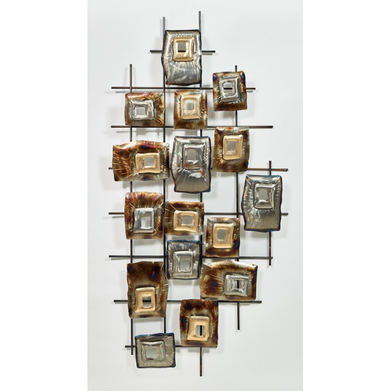 GEOMETRISCHE Wandskulptur aus Metall (Silber, Beige, braun)