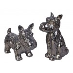 Set of 2 design dog decorative sculptures in resin (gun barrel)